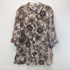 Chico's Linen 3/4 sleeve Floral Brown/White Top